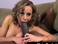 Hottie sucking big black cock