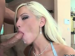 Tattooed hottie Tricia Oaks gobbles up cock
