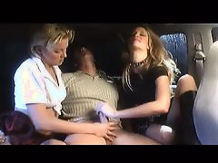 2 Girl Handjob in Limo