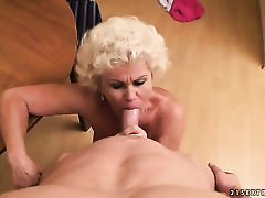Effie with huge jugs enjoys dick sucking