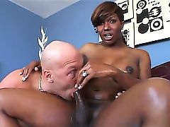 Black heavy chested shemale Chasidy with huge firm balloons and kinky haircut gives head to