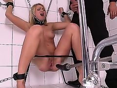 Kinky dude bound Lucy heart in a bathroom and she was completely