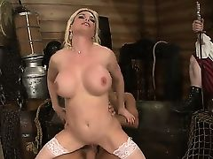 Diamond Foxxx is getting nailed by Keiran Lee before public. The bitch in white stockings