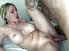 Fair-haired sexy woman Angela Attison is a MILF with huge