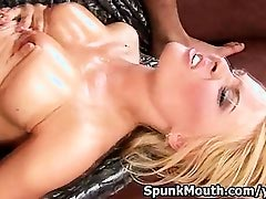 Blonde beauty Anastasia tittyfucks rides cock for cum on tits