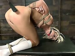 Marvelous skinny blondie Maria Davis is being nicely tied up by the sexy guy Mr.