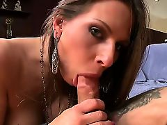 Bitch with big juggs Rachel Roxxx gives cool blowjob and titjob to lucky man first of all.