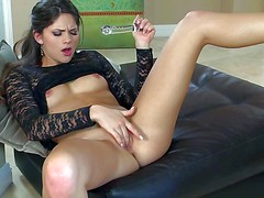 Lovely brunette Aaspen Rae woth pretty small tits spreads her