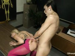 transsexual teacher punishes her slutty student