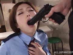 horny japanese officer sucking the gun