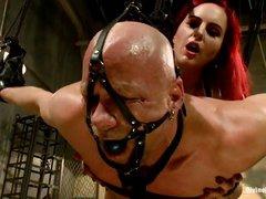 busty redhead milf dominating a bald guy