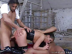 Lusty cock addicted young brunette with natural tits in black