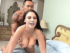 Wild busty chick Bella Blaze has fun with hugecocked fellow. She is giving really