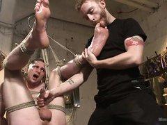 gay slave has his soles licked