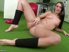 Long haired brunette cutie Virginia Ducatti poses naked at the