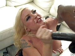 Heavy chested cuckold blonde Leya Falcon with cheep tattoo and