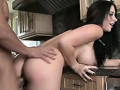 Beautiful dark haired babe with sweet natural titties Jayden Jaymes is fucking with her