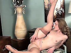 Skinny and all natural babe Vicky Marie in sexy stockings and gentle high heels