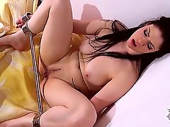 Tempting dark haired Lucia Love with big natural knockers and large labia is left alone
