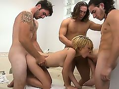 Three raunchy blokes have ganged up on a stunning dolly Dakota Skye. She is