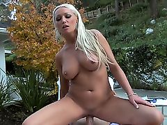 Smoking hot blonde milf Diana Doll with big round balloons and round bouncing ass rides on