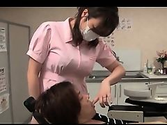 Sex starved asian nurse teasing her hot patients shaft