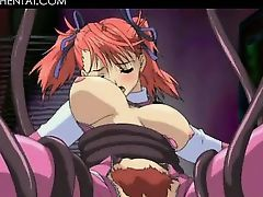 Hentai hot redhead temptress giving blowjob on knees