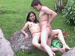 young couple outside sex