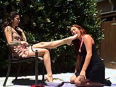 lesbian slave eat on mistress foot
