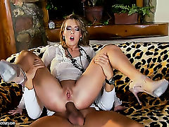 Blonde Kitty Cat gets back porch banged hard and deep