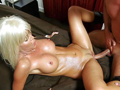 Cock loving blonde bimbo with fit body and big firm