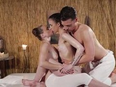 oily threesome on the massage table