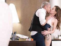 adorable brunette gets her ass ravaged by a kinky boss of hers