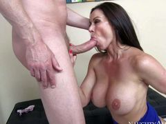Massive titted brunette milf Kendra Lust is his wife's friend.