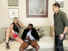 horny mum sucks cock on the couch @ mom's cuckold #17