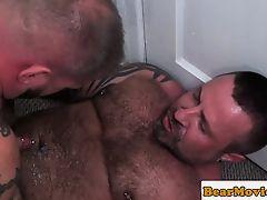 Top bear anal pounding inked bottom