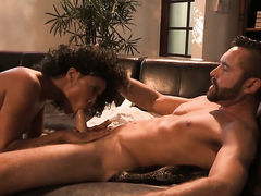 Misty Stone shows her slutty side to horny guy by taking his hard meat pole in her mouth