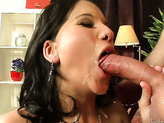 Blonde Rihanna Samuels has fire in her eyes as she gets her hole hammered good and hard by horny man