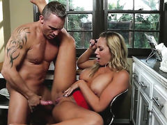 Olivia Austin with massive knockers plays with dudes beefy worm
