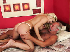 Blonde with gigantic breasts is a blowjob addict that loves guys sturdy man meat