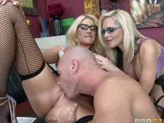 Big racked blondes with glasses team up to share guy's