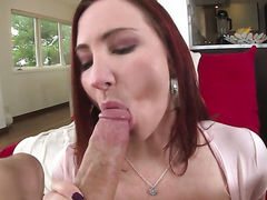 Redhead with juicy knockers and hairless beaver had her lovely face