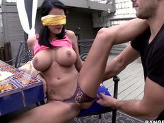 Raven haired blindfolded woman Peta Jensen with huge boobs shows