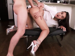 Dillion Harper with gigantic hooters and shaved cunt spreads her legs to take hard dick in her love tunnel