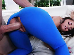 Brunette with phat ass gets jizzed on after sex with hot dude