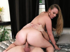 Blonde Tiffany Kohl satisfies mans sexual desires and then gets covered in man cream