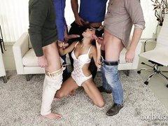 naughty babe sucks multiple cocks in a gang bang @ 4 on 1 gang bangs #09