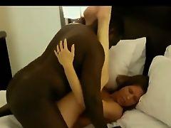 Interracial amateur couple POV blowjob