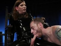 she uses her slave's mouth as a cum dumpster