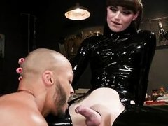 shemale goddess natalie tortures and humiliates her slave